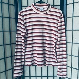Tops - Polly pink striped mock neck top long sleeve sz 12